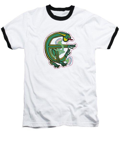 Medieval Frog Letter E Baseball T-Shirt by Donna Huntriss