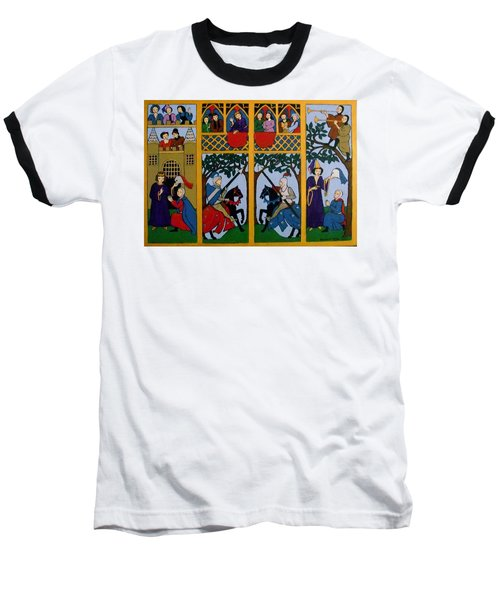 Baseball T-Shirt featuring the painting Medieval Scene by Stephanie Moore