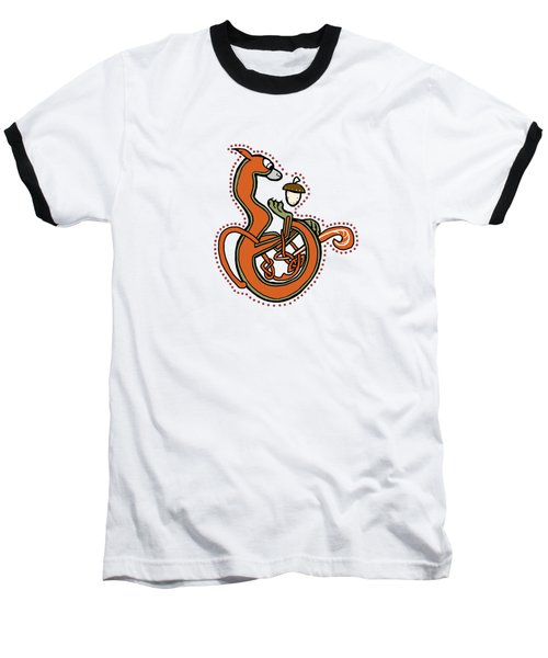 Medieval Squirrel Blue Letter B Baseball T-Shirt