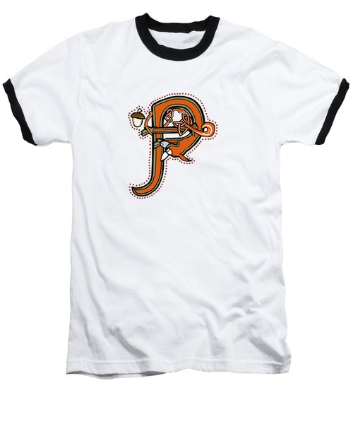Medieval Squirrel Letter P Baseball T-Shirt
