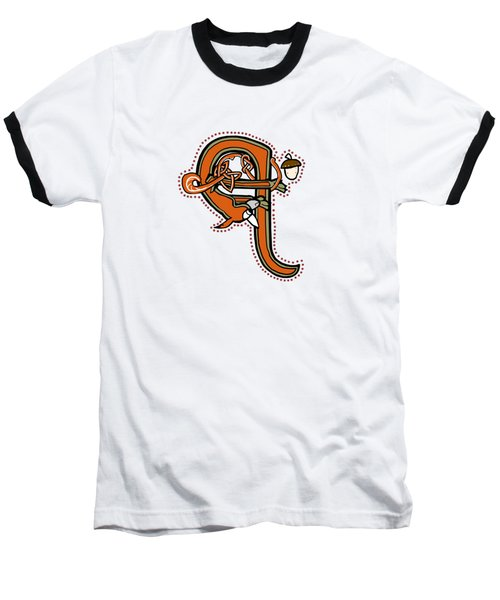 Medieval Squirrel Letter Q Baseball T-Shirt
