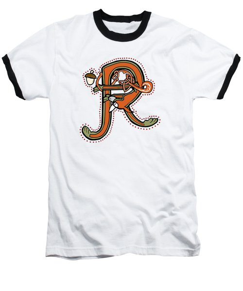 Medieval Squirrel Letter R Baseball T-Shirt