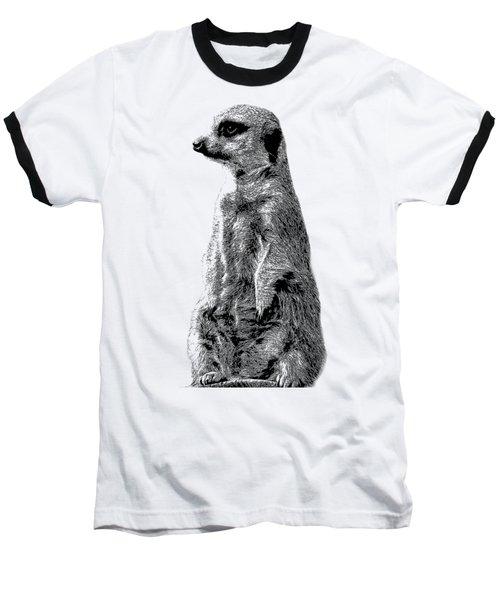 Meerkat Etching Baseball T-Shirt by Greg Noblin