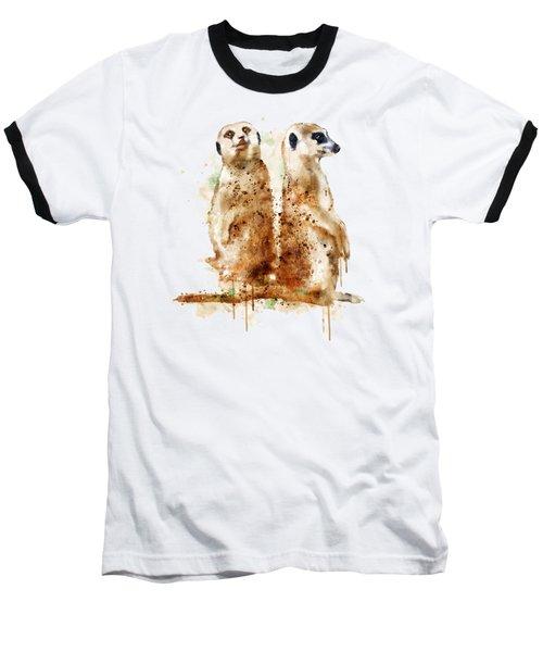 Meerkats Baseball T-Shirt by Marian Voicu