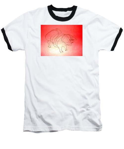 Baseball T-Shirt featuring the drawing Meishan Sow 3 by Larry Campbell