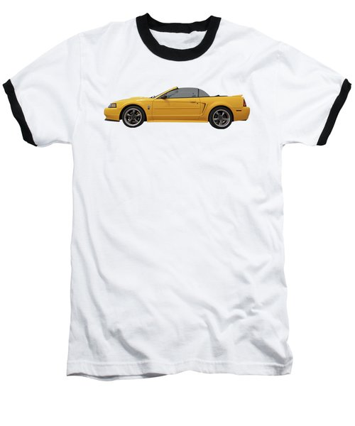 Baseball T-Shirt featuring the photograph Mellow Yellow 1999 Mustang  by Gill Billington