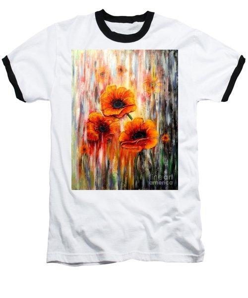 Melting Flowers Baseball T-Shirt by Greg Moores