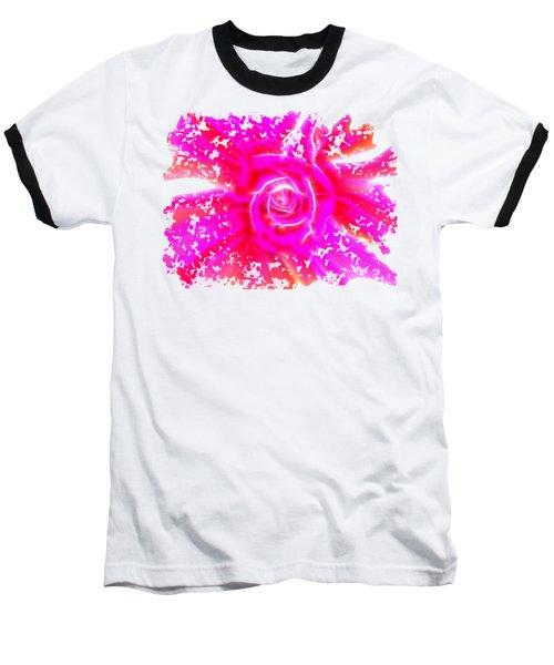 Melting Pink Rose Fractalius Baseball T-Shirt