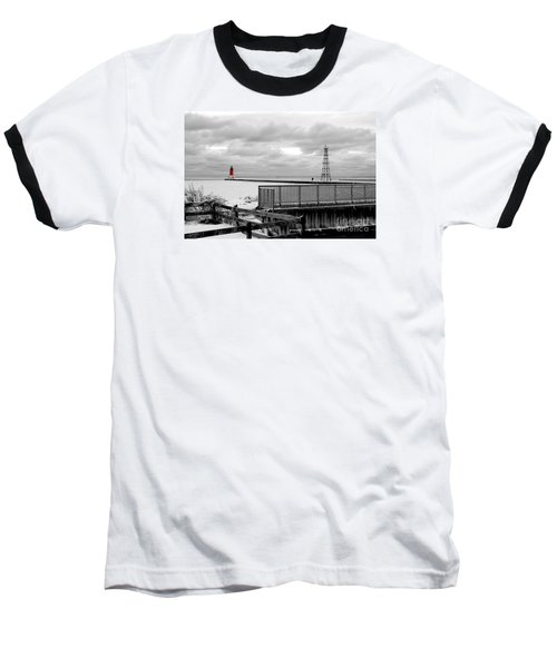 Baseball T-Shirt featuring the photograph Menominee North Pier Lighthouse On Ice by Mark J Seefeldt