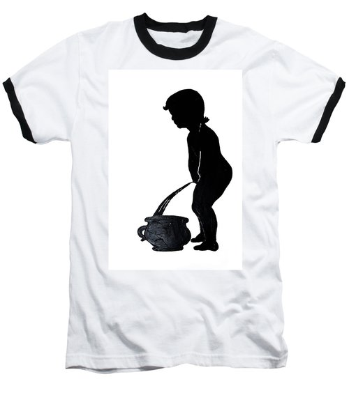 Mens Room Sign Silhouette Baseball T-Shirt by Sally Weigand