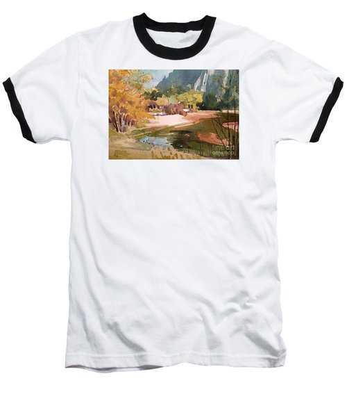 Merced River Encounter Baseball T-Shirt by Donald Maier
