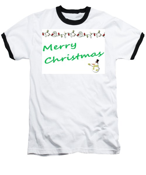 Merry Christmas Little Snow Man On White 2 Baseball T-Shirt