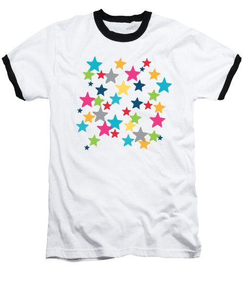 Messy Stars- Shirt Baseball T-Shirt by Linda Woods