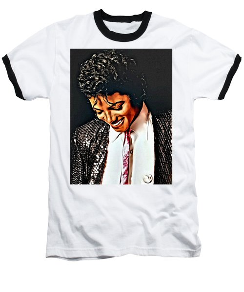 Baseball T-Shirt featuring the painting Michael Jackson The Ultimate Humanitarian by Karen Showell