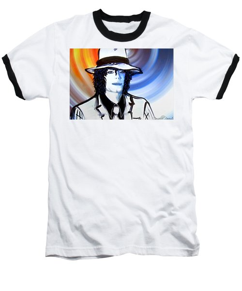Michael Jackson White Fedora Alcohol Inks Baseball T-Shirt