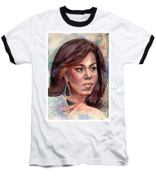 Michelle Obama Portrait Baseball T-Shirt