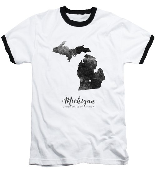 Michigan State Map Art - Grunge Silhouette Baseball T-Shirt