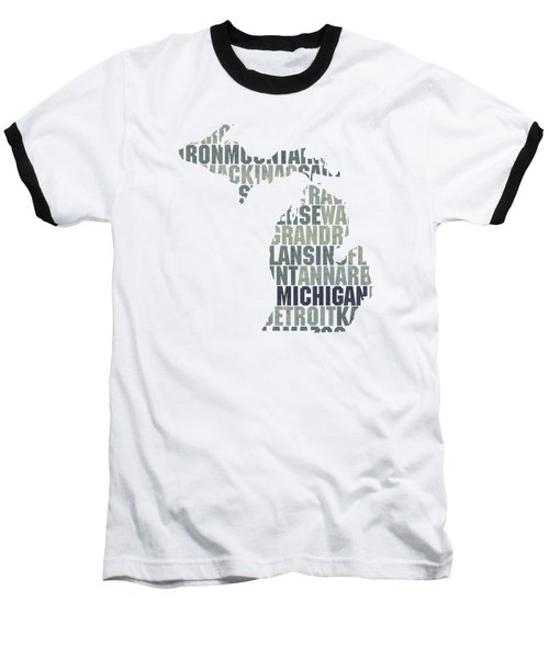 Michigan State Outline Word Map Baseball T-Shirt