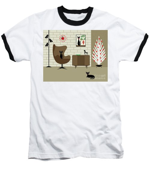 Mid-century Christmas Baseball T-Shirt