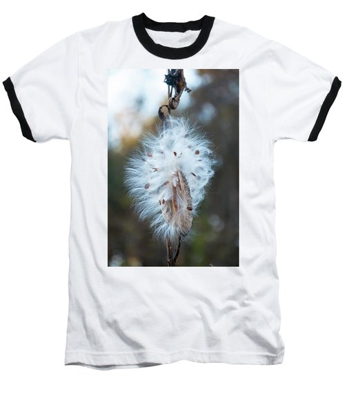 Baseball T-Shirt featuring the digital art Milkweed And Its Seeds by Chris Flees