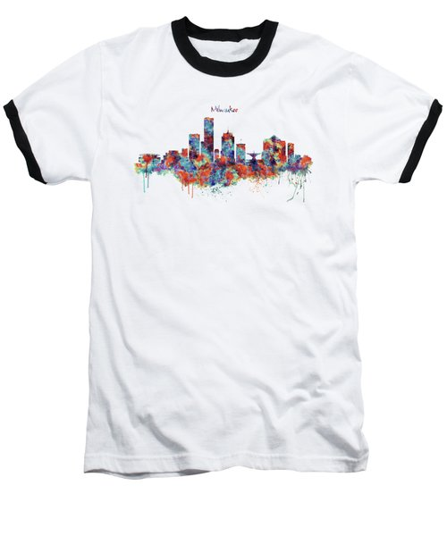 Baseball T-Shirt featuring the mixed media Milwaukee Watercolor Skyline by Marian Voicu