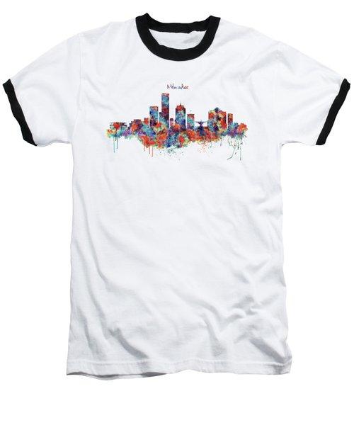 Milwaukee Watercolor Skyline Baseball T-Shirt