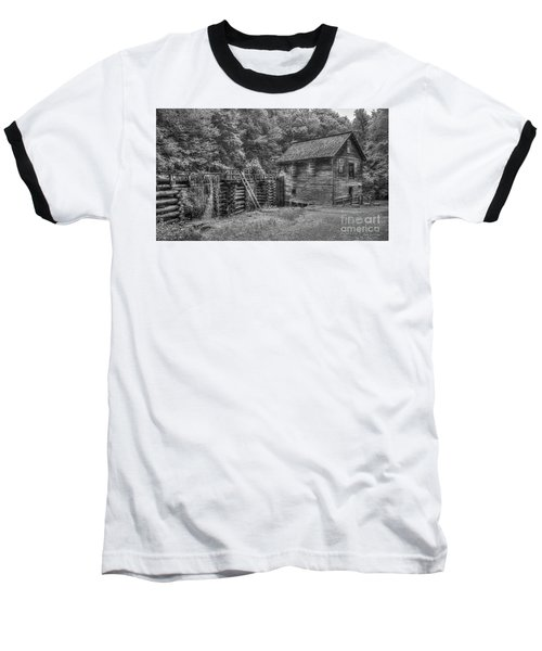 Baseball T-Shirt featuring the photograph Mingus Mill Black And White Mingus Creek Great Smoky Mountains Art by Reid Callaway