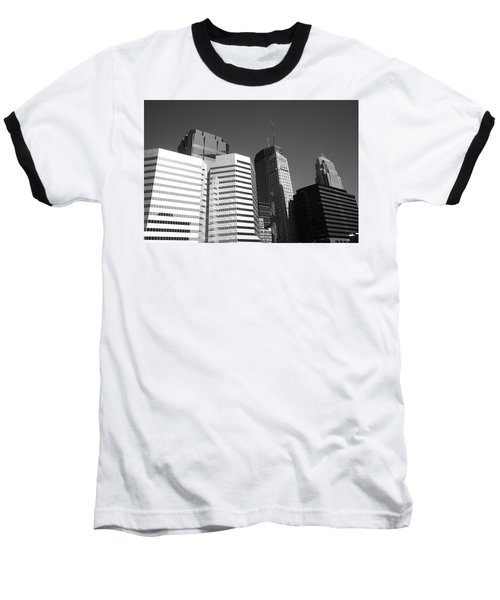 Baseball T-Shirt featuring the photograph Minneapolis Skyscrapers Bw 5 by Frank Romeo
