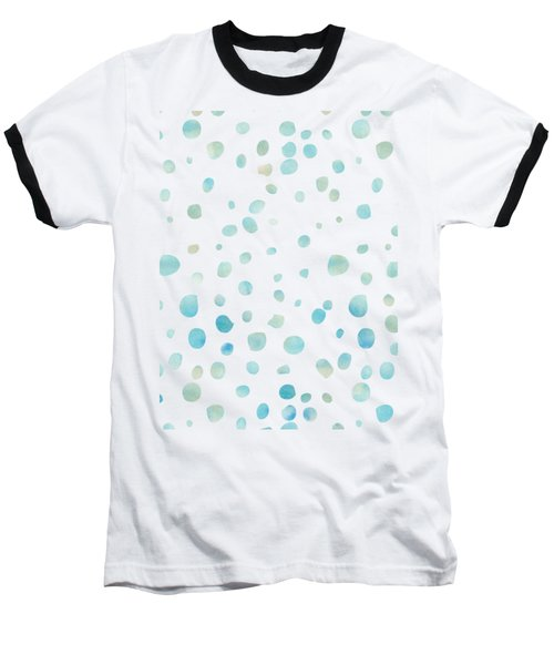 Mint Blue Watercolor Confetti Dots Baseball T-Shirt by P S