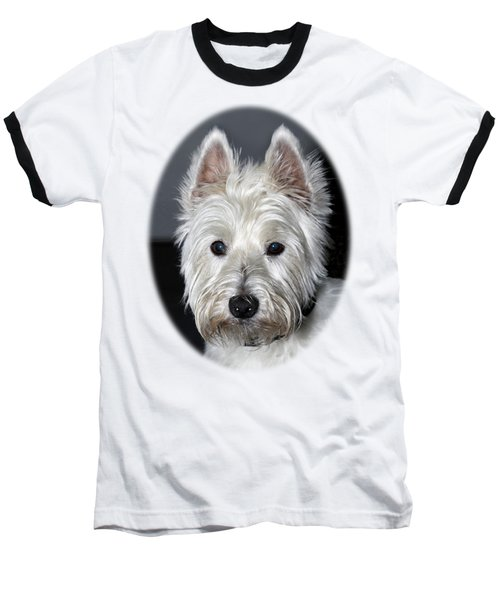 Mischievous Westie Dog Baseball T-Shirt by Bob Slitzan
