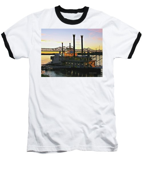 Mississippi Riverboat Sunset Baseball T-Shirt