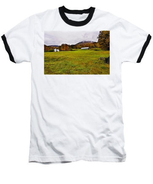 Misty Autumn At The Farm Baseball T-Shirt