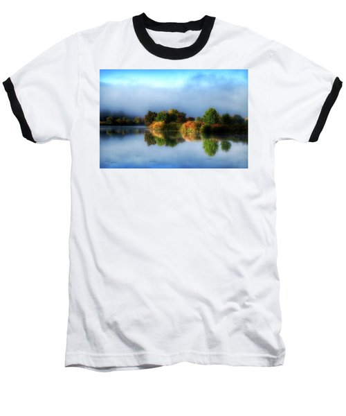 Misty Fall Colors On The River Baseball T-Shirt