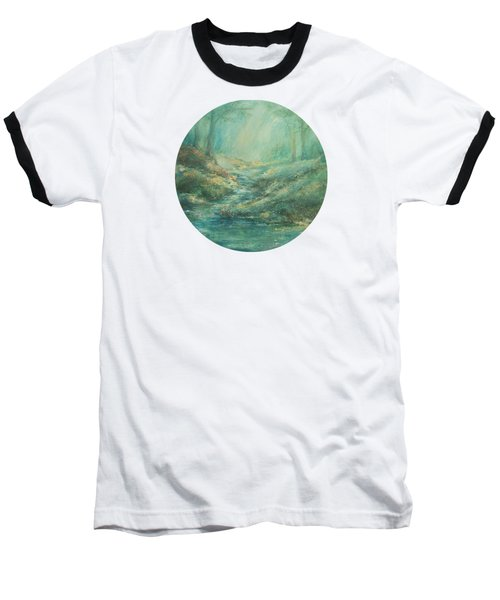 The Misty Forest Stream Baseball T-Shirt by Mary Wolf