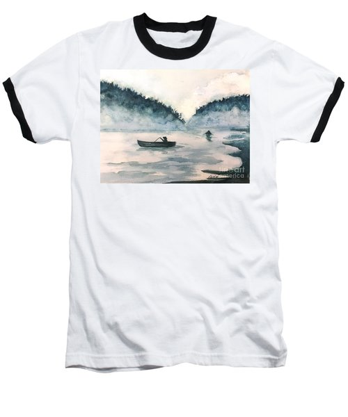 Misty Lake Baseball T-Shirt by Lucia Grilletto