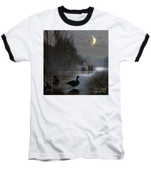 Misty Moonlight Baseball T-Shirt by LemonArt Photography