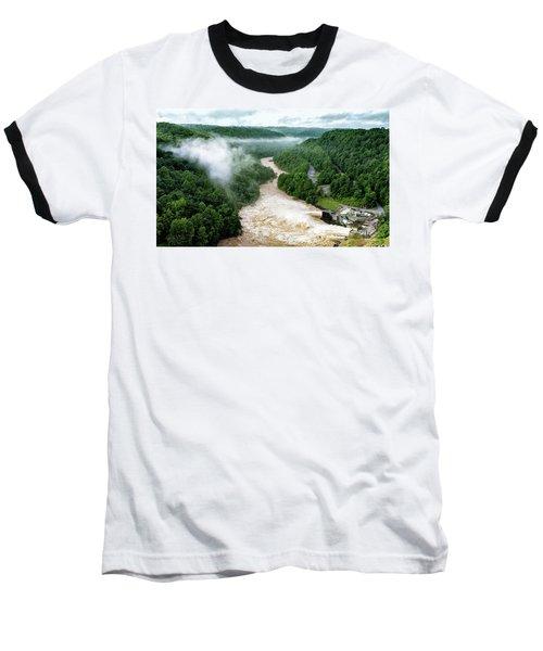 Misty Morning At Summersville Lake Dam Baseball T-Shirt by Mark Allen