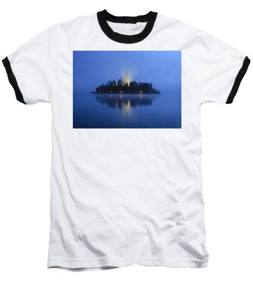 Misty Morning Lake Bled Slovenia Baseball T-Shirt