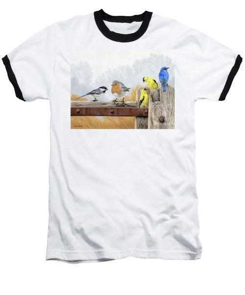 Misty Morning Meadow Baseball T-Shirt