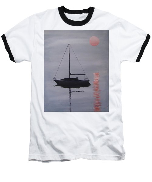 Misty Morning Mooring Baseball T-Shirt by Jack Skinner