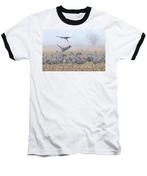 Misty Morning Nebraska Landing Baseball T-Shirt