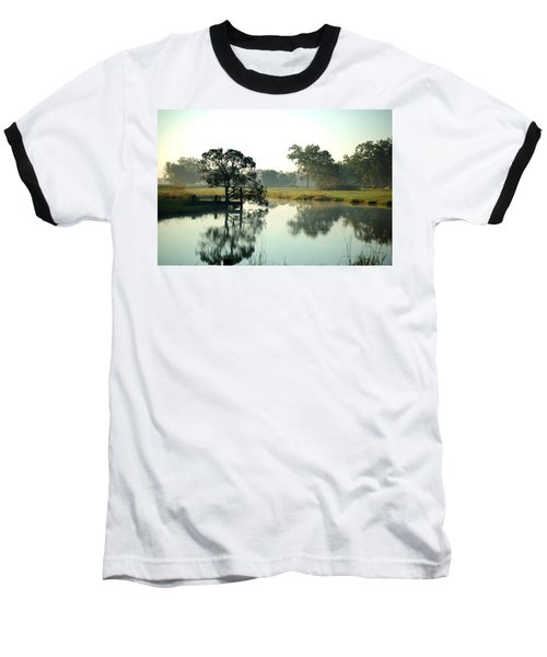 Misty Morning Pond Baseball T-Shirt