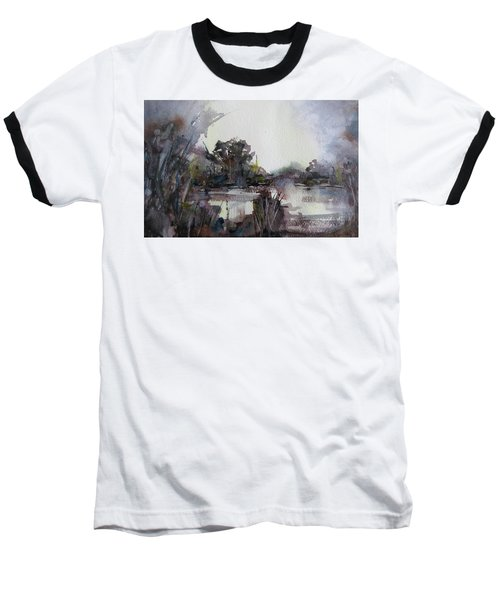 Baseball T-Shirt featuring the painting Misty Pond by Geni Gorani