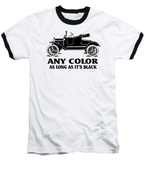 Model T Roadster Pop Art Black Slogan Baseball T-Shirt