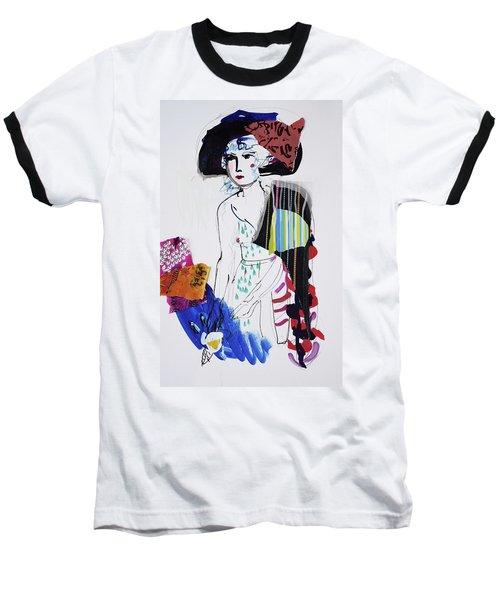 Model With Fashion Hat And Chawl Baseball T-Shirt by Amara Dacer