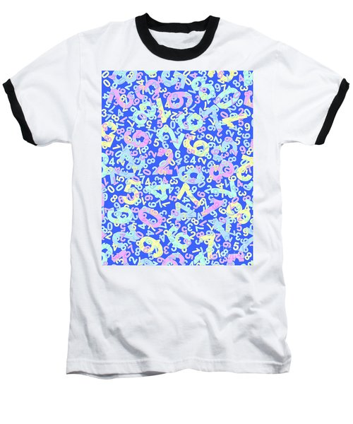 Modern Design With Random Colorful Numbers With Shadow Edges On A Blue Background  Baseball T-Shirt