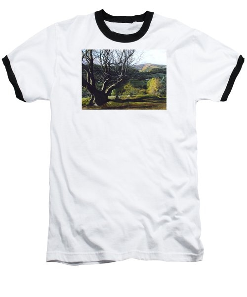 Baseball T-Shirt featuring the painting Moel Famau From Loggerheads by Harry Robertson
