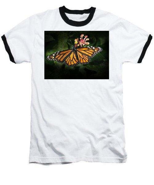 Monarch Butterfly On Lantana Baseball T-Shirt
