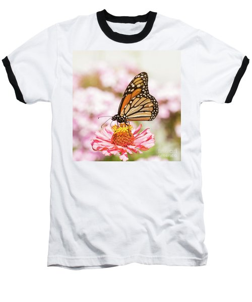 Monarch Butterfly On Pink Baseball T-Shirt