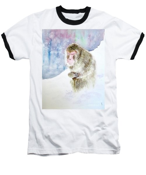 Monkey In Meditation Baseball T-Shirt by Yoshiko Mishina